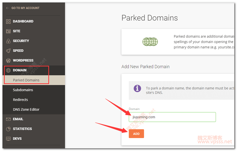 Siteground Parked Domains