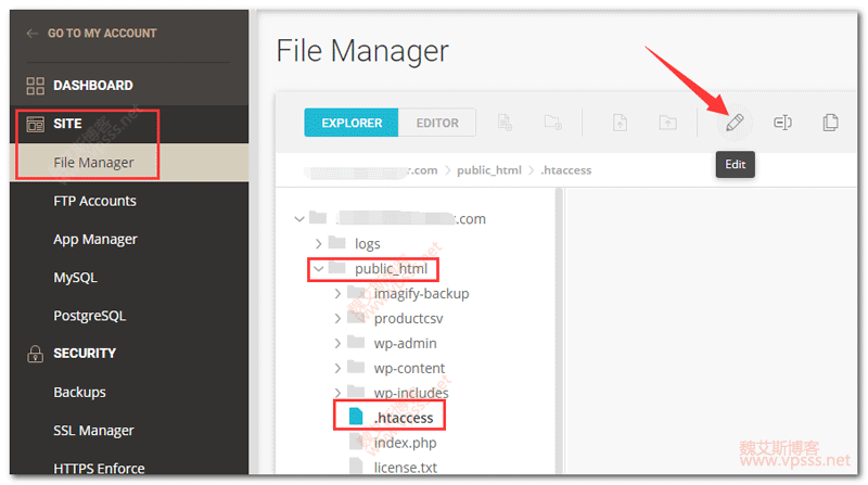 Siteground file manager htaccess