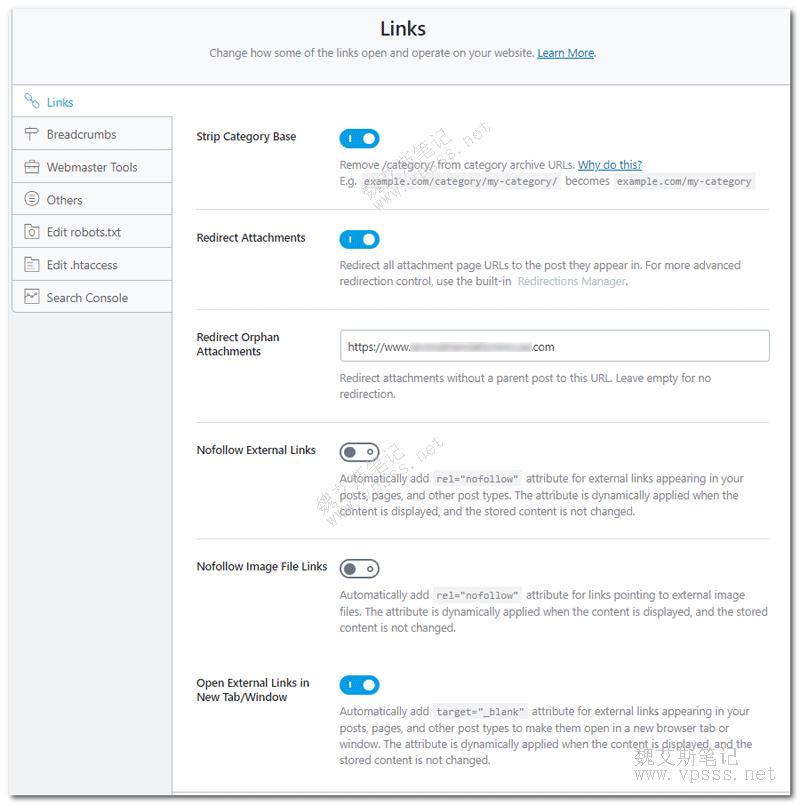 rank math插件General settings设置