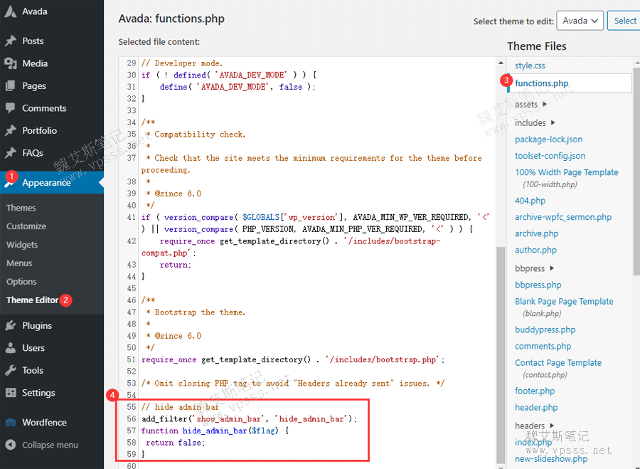 添加代码去除WordPress管理工具条 Admin Bar
