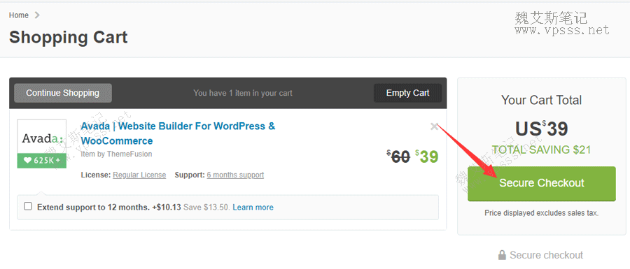 Themeforest添加avada主题付款页面